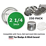 2.25 inch Round BackPin Buttons (250 Pack) Sets for Badge Making 2 1/4