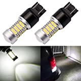 ENDPAGE 7443 7440 992 T20 LED Bulb 2-pack, Xenon White 6000K, Extremely Bright, 54-SMD with Projector Lens, 12-24V, Works as Back Up Reverse Lights, Brake Tail Lights, Turn Signal Blinkers (Color: White, Tamaño: 7443)
