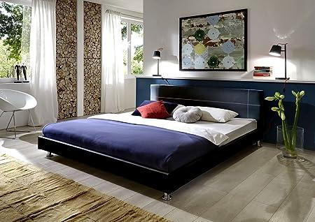 SAM® Polsterbett Bett Teneriffa in schwarz 180 x 200 cm Kopfteil im abgesteppten modernen Design Steppnaht in der Kontrastfarbe weiß chromfarbene Fuße Wasserbett geeignet