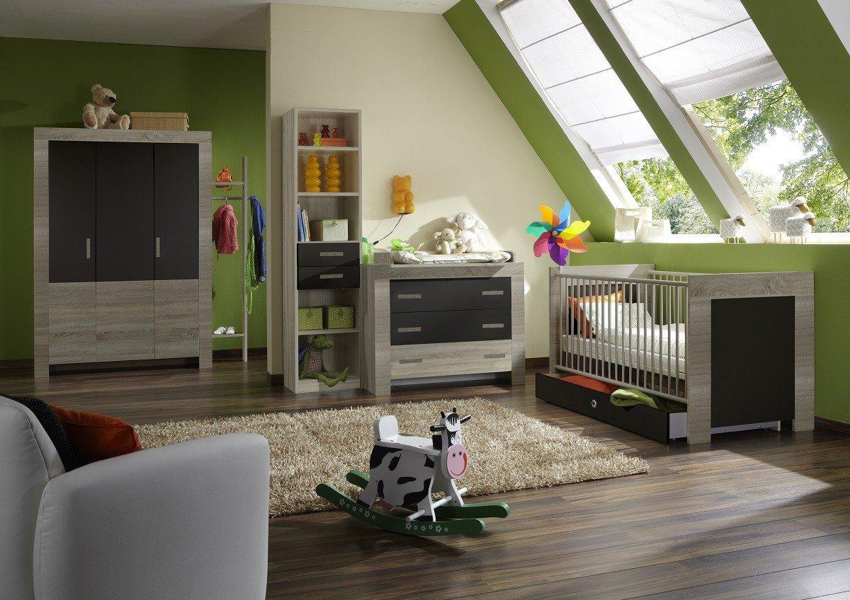 Dreams4Home Babyzimmer 'Cosmo II', Babyzimmerkomposition, Babyzimmer komplett, Babyzimmer, Farbe:Lavafarbig. Abs. Eiche sägerau-Nachbildung