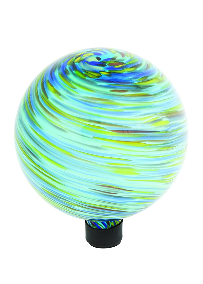"Russco III GD137197 Glass Gazing Ball, 10"", Blue Swirl"