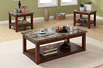 3-piece coffee table set featuring faux marble finish By Poundex