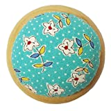 GAMESPFF Round Pin Cushion with Wooden Base and Printed Floral Fabric Coated for Daily Needlework (Blue 1) (Color: Blue 1)