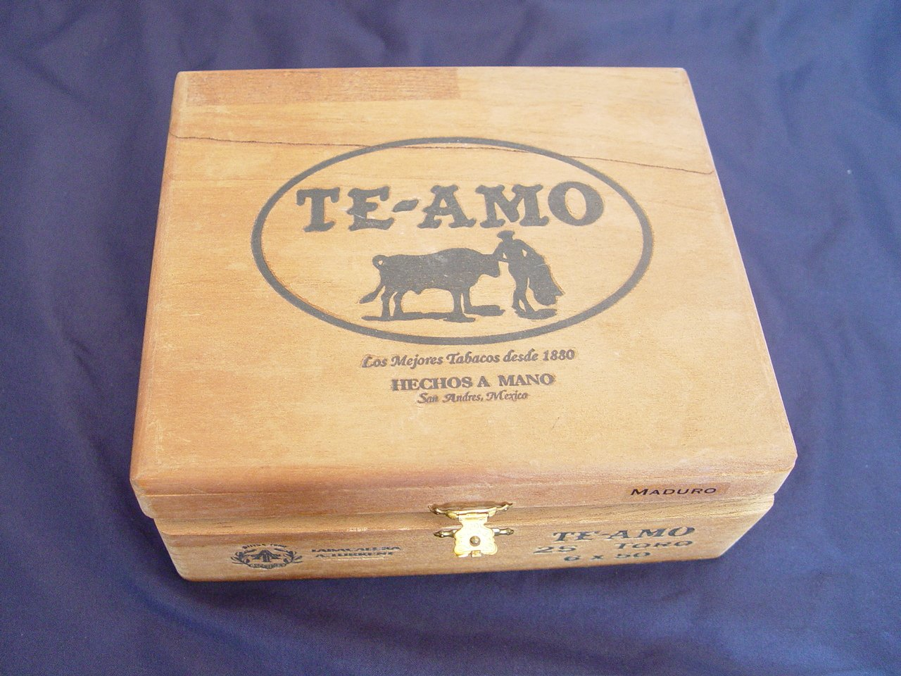 Vintage Te Amo Hinged Dovetailed Wooden Cigar Box - Mexico Single Empty 0