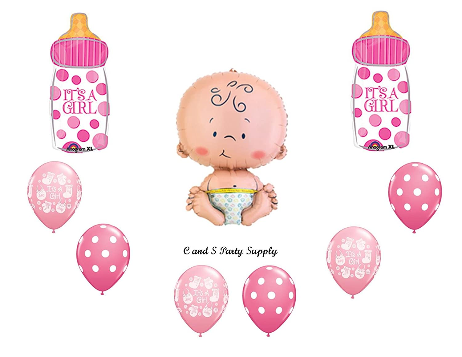 Girl baby shower balloon bundles baby shower mania for Balloon decoration for baby girl