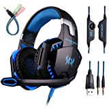 Gaming Headset with Mic for PC,PS4,Xbox One,Over-ear Headphones with Volume Control LED Light Cool Style Stereo,Noise Reduction for Laptops,Smartphone,Computer (Black & Blue) (Color: Black, Tamaño: G2000 Blue)