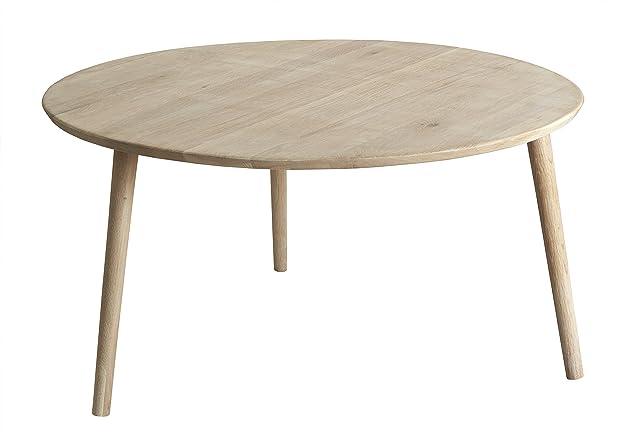 Jabo Avignon Diametro 90 cm tavolino da salotto rovere oliato, bianco