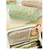 Kawaii Stationery Large Capacity Floral Pencil Case Pen Storage Box School Office Supplies Cute Cosmetic Bag Papelaria for Girls (Blue) (Color: Blue)