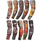 Arm Tattoo Sleeves Temporary Fake UV Arm Sleeves for Men Cover Body Art Stockings Summer UV Protection Arm Sunscreen Accessories Designs Tiger, Crown Heart, Skull, Tribal and Etc 10PCS (Color: 10 PCS, Tamaño: One Size)