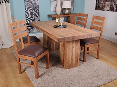 Alwar Dining Set - 1.8m Table and 4 matching chairs. All in 100% acacia handcrafted hardwood with beautifully distressed look