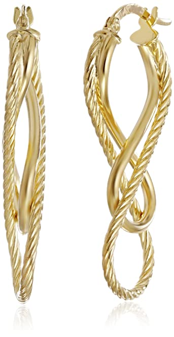 Amazon: 14k Italian Yellow Gold Diamond-Cut and High Polish Figure Eight Earrings