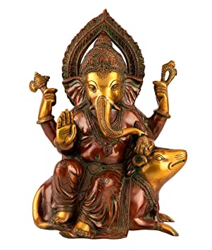 "12"" Ganesh Statue Hindu God Ganesha Brass Sculpture Ganpati Idol Decor Gift"