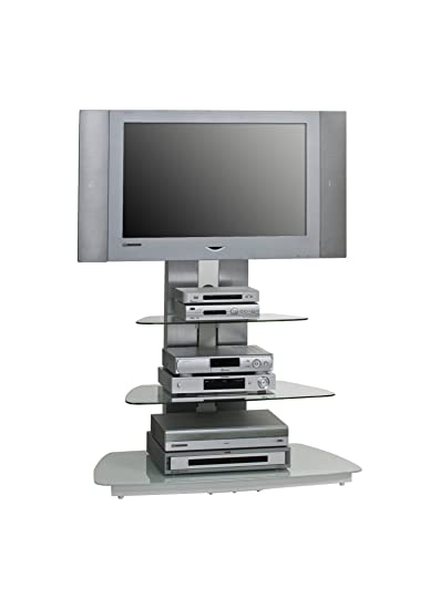 Maja de meubles 16189446, Meuble TV Rack, métal aluminium-En verre blanc Dimensions lxhxp: 90x 128,8x 54,3cm