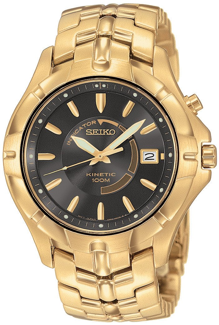 Women 39 s watches seiko men 39 s ska404 kinetic gold tone watch was listed for r3 on 30 sep for Movado kinetic