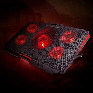 LINGSFIRE Laptop Cooling Pad 12-17inch Ultra Quiet Laptop Cooler Stand Notebook Cooling Fan Chill Mat for Gaming Laptop with 5 Fans, Red LED Lights, 2 USB Ports, 8 Adjustable Height (Black) (Color: Black)