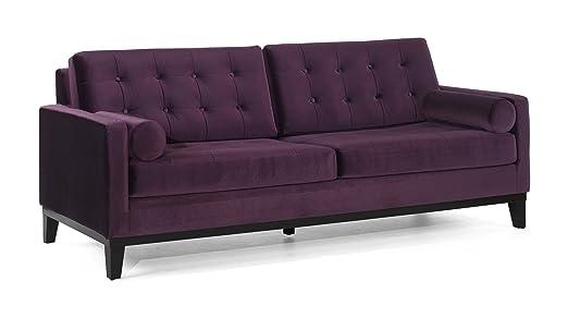 Armen Living 725 Centennial Sofa, Purple Velvet