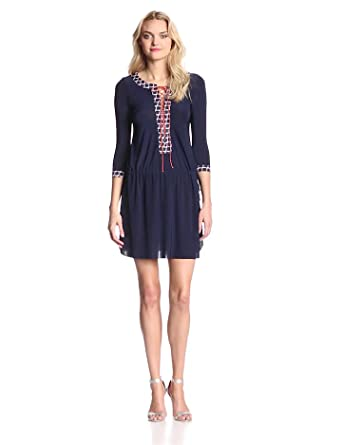 Tbags Los Angeles Women's 3/4 Sleeve Lace Up Shift Dress, Navy, X-Small