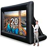 Jumbo 20 Feet Inflatable Outdoor and Indoor Theater Projector Screen - Includes Inflation Fan, Tie-Downs and Storage Bag - Updated Version (Color: Black, Tamaño: 20 Feet)