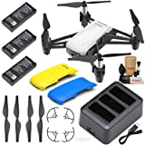 Tello Drone Quadcopter Boost Combo with 3 Batteries, Charging Hub, Yellow & Blue Snap-On Covers and More (Tamaño: Standard)
