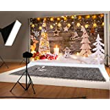 10x6.5ft Winter Snow Christmas Backdrops Photographer Wooden Wall Christmas Tree Background Stars Snowman Photo Backdrop (Color: christmas5, Tamaño: 10x6.5ft)