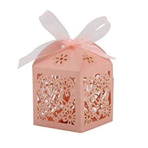 COTOPHER 60 Pack Love Heart Laser Cut Candy Boxes Wedding Party Favor Boxes Small Gift Boxes for Wedding Bridal Shower Baby Shower Birthday Party (60, Pink) (Color: Pink)