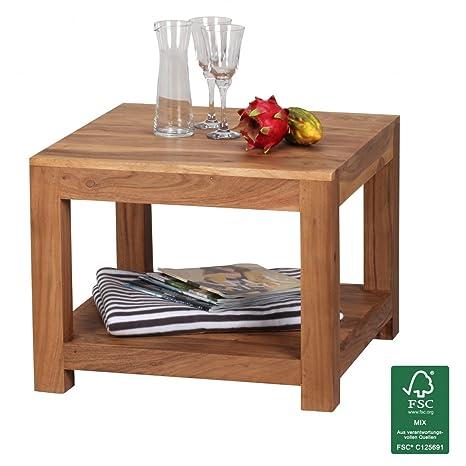WOHNLING, Couchtisch, WL1.571, Massiv-Holz Akazie 60 x 60 cm Wohnzimmer-Tisch Design dunkel-braun