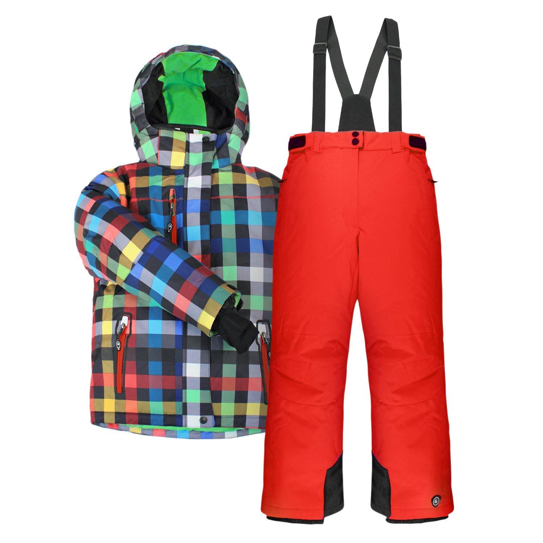 """Killtec Kinder-Skianzug """"Kolin Jr."""" bunt kariert mit Hose in Neon-Grün oder Rostrot – wasserdicht, winddicht, atmungsaktiv – Größenwahl jetzt bestellen"""