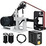 Happybuy 2Hp Belt Grinder Variable Speed 2 X 82inch Belt Disc Sander with 3 Grinding Wheel Bench Sander 12inch Wheel and Flat Platen Tool Rest for Knife Making (Color: Variable speed)