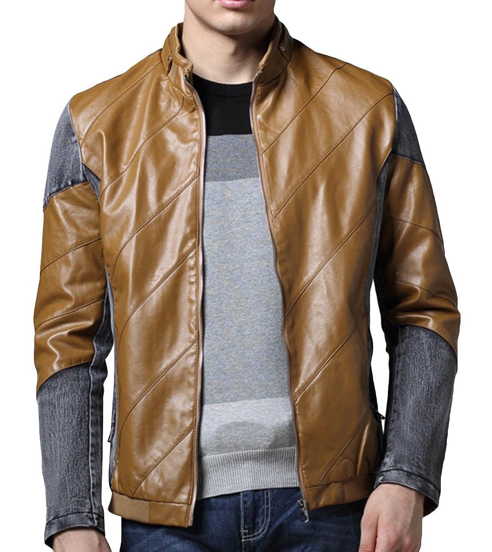 FGYP Men's Fashion Slim Fit Denim Splicing Leather Jacket Coats
