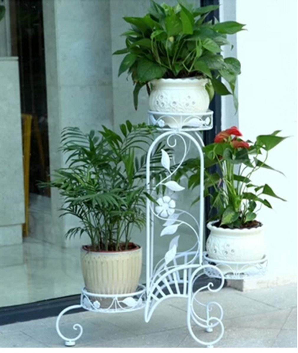 Plant Planter Stand Indoors Or Outdoors White Metal Home