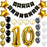 Happy 10th Birthday Banner Balloons Set for 10 Years Old Birthday Party Decoration Supplies Gold Black (Color: 10th, Tamaño: 25)