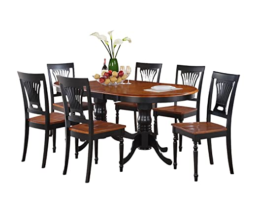 East West Furniture PLAI5-BLK-W 5-Piece Dining Table Set, Black/Cherry Finish