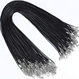 Necklace Chain, YGDZ 100pcs 1.5mm Waxed Necklace Cord Rope String with Clasp Bulk for Bracelet Necklace Jewelry Making, Black