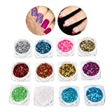 Nail Art 12 Colors/Set Nail decor accessories Sequins 3D Thin Shiny Nail Art Powder Decorator Manicure Tools