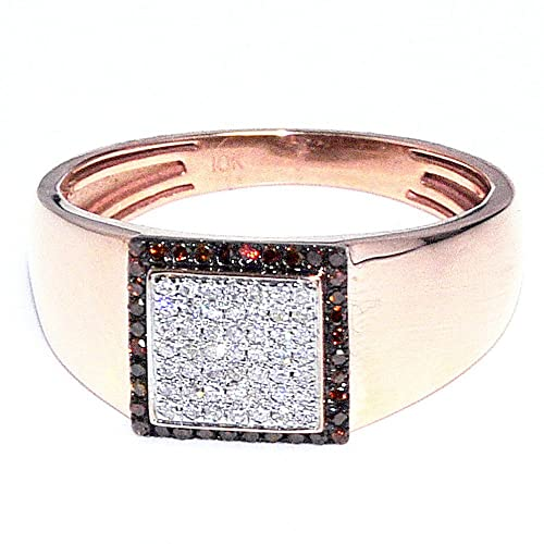 Midwest Jewellery Men's Rose Gold Ring Cognac White Diamond Pinky Fashion Ring 10Mm Wide 1/4Cttw(0.25Cttw)