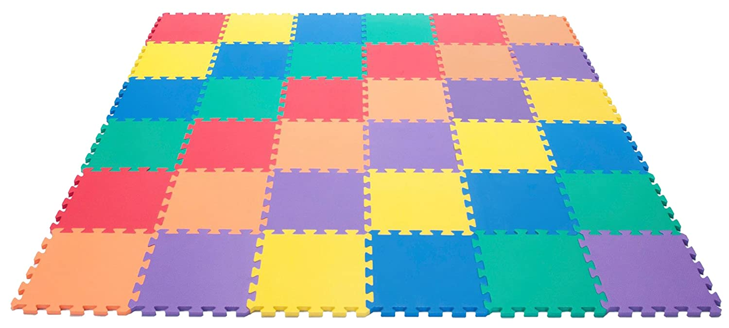 "Amazon.com : Wonder Mat Non-Toxic Rainbow (6 Colors) foam Wonder Mats: Non-Recycled Quality & Waterproof Extra Thick 36 Pieces 12"" X 12"" X ~9/16"" : Early Development Playmats"