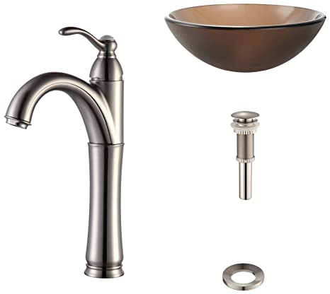 Kraus C-GV-103FR-12mm-1005SN Frosted Brown Glass Vessel Sink and Riviera Faucet Satin Nickel