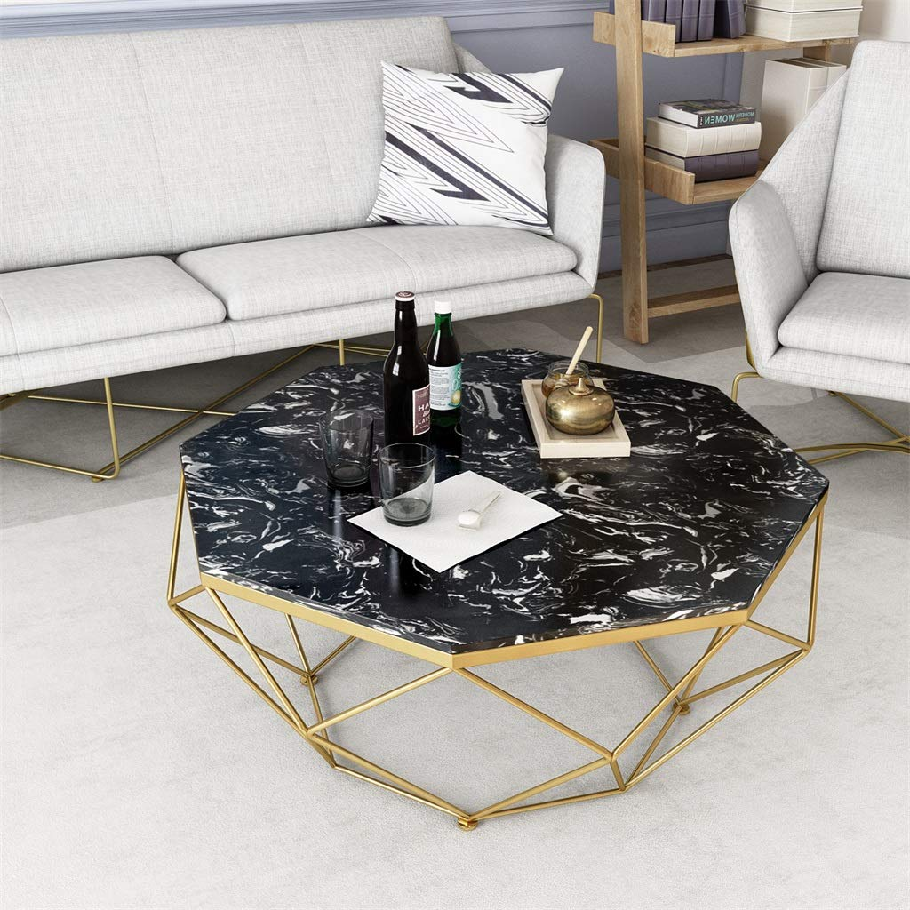 Wrought Iron Coffee Table, Large Marble Desktop, Solid Metal Frame, Stylish Simplicity, Designed for Modern Home Hotels, Octagon