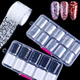 Macute Retro Holographic Nail Foil Transfer Stickers Black White Lace Laser Foils 20 Rolls Nail Art Supplies Starry Paper Designs for Acrylic Decorations Women DIY Nail Arts Manicure Wraps Charms (Color: 4)