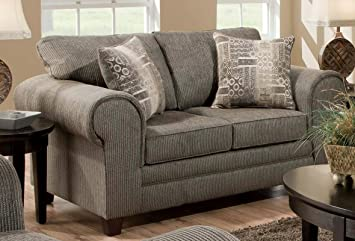 Chelsea Home Furniture Camden Loveseat, Romance Graphite/Channing Taupe Pillows (2)