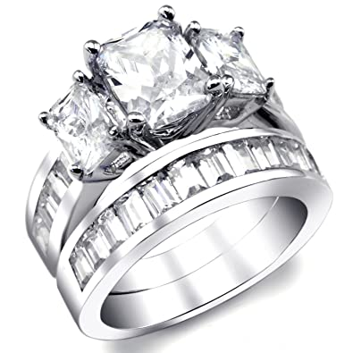 2 Carat Radiant Cut Cubic Zirconia CZ Sterling Silver Women's Wedding Engagement Ring Set