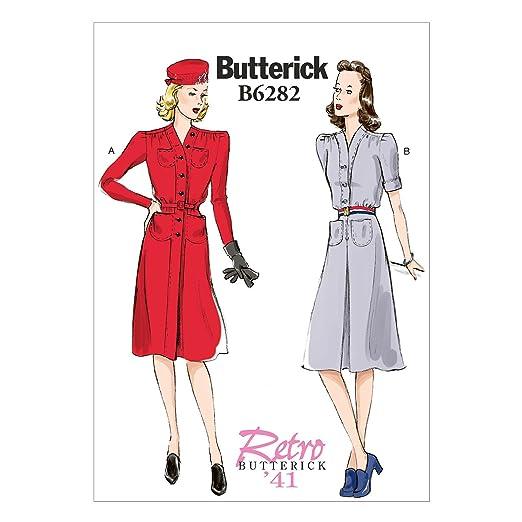1940s Sewing Patterns – Dresses, Overalls, Lingerie etc 1941 Dress and Belt Size B5 (8-10-12-14-16) $9.55 AT vintagedancer.com