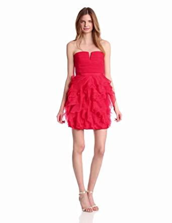 BCBGMAXAZRIA Women's Cicilly Strapless Dress, Lipstick Red, 0