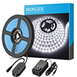 Dimmable LED Strip Lights, MINGER LED Mirror Lights Kit for Vanity Makeup Dressing Table 6000K Bright White Daylight, 300 LEDs, 16.4FT Under Cabinet L