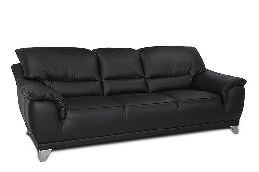 Cotta C083300 M9003 Dunja 3 Sitzer, echt Leder, 220 x 106 cm, schwarz
