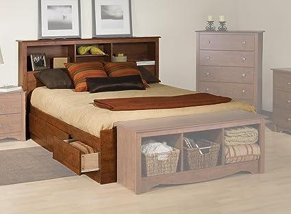 Amazon.com - Platform Storage Bed w/ Bookcase Headboard Cherry/Queen -