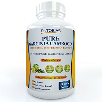 Pure Garcinia Cambogia Extract Plus Green Coffee Beans - 90 Capsules for a Real 30 Day Supply. 65% HCA (Hydroxycitric Acid) and 60% CGA (Chlorogenic Acid). Plus Potassium and Calcium for Optimal Absorption. Super Powerful Fat Burner and Appetite Suppressa