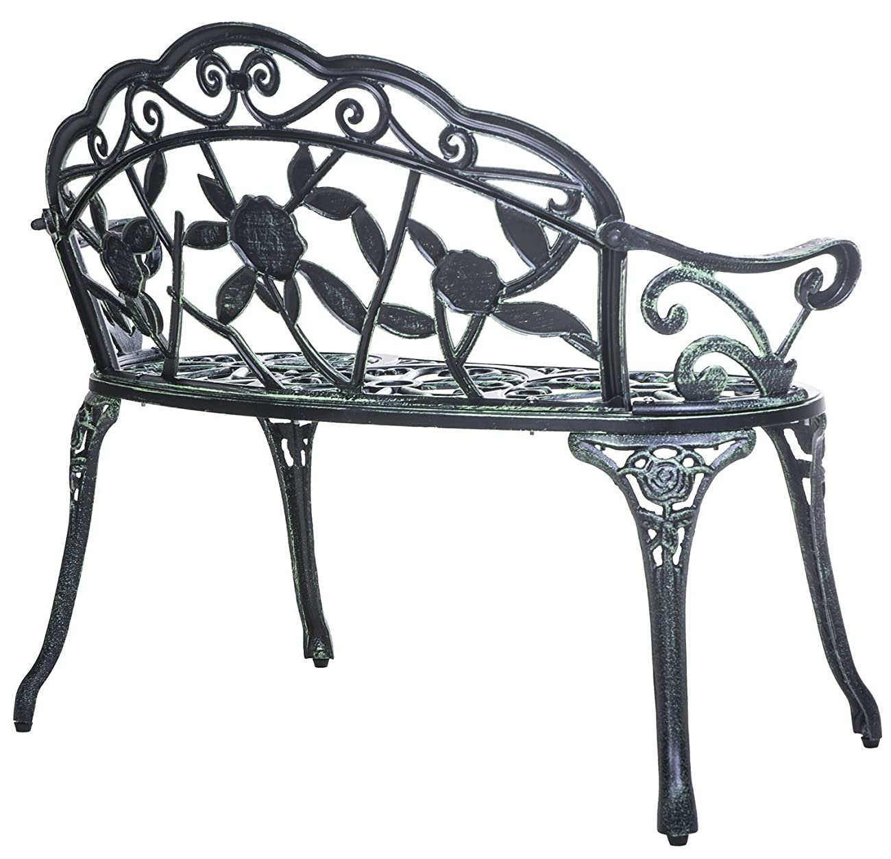 Merax Cast Iron Antique Rose Style outdoor Patio Garden Park Bench, Cast Iron 3