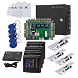 110V Security Network Door Access Control Board Kit Metal Power Box For 4 Doors Fail Secure Strike Lock RFID Password Reader Key Cards