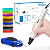 Merlion 3D Pen for Kids, 3D Pen with 1.75mm PLA Filament Pack of 12, Each Color 10 Feet, 3D Printing Pen with OLED Screen is for Kids,Artist, Adults Upgraded (Color: White)